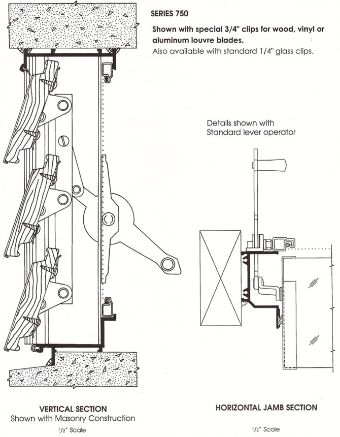Jalousie Series 750 on cad drawings